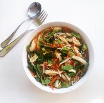 Noodle pot in bowl