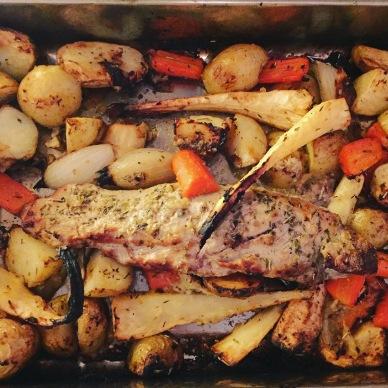 Pork traybake